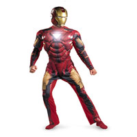 Adult Deluxe Muscle Iron Man 2 Mark VI Light Up Costume