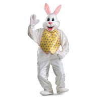 White Adult Easter Bunny Mascot Including Yellow Vest Costume
