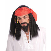 Buccaneer Pirate Wig With Beaded Bandana For Adults
