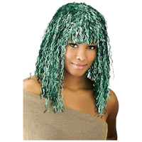 Green Crimped Tinsel Wig For Adults