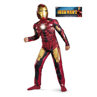 Boys Deluxe Muscle Light Up Iron Man Mark Vi Costume